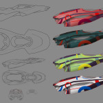 Concept, blue print and colour swatch for wipEout design